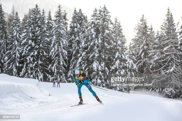 Martin Fourcade of France takes 1st place during the IBU Biathlon World Cup Men's and Women's Mass Start on January 21 2018 in AntholzAnterselva Italy