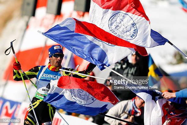 Martin Fourcade of France takes 1st place during the IBU World Cup Biathlon Men's 15 km Mass Start on January 22 2011 in AntholzAnterselva Italy