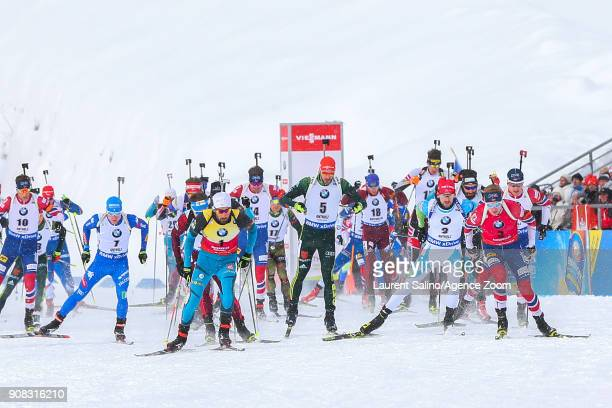 Martin Fourcade of France takes 1st place Johannes Thingnes Boe of Norway competes Tarjei Boe of Norway takes 2nd place Emil Hegle Svendsen of Norway...