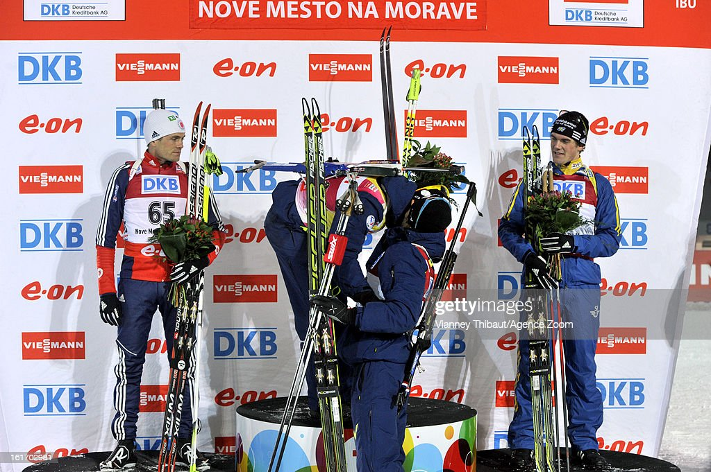 Martin Fourcade of France takes 1st place, Tim Burke of the USA takes 2nd place place, Fredrik Lindstroem of Sweden takes 3rd place during the IBU Biathlon World Championship Men's 15km Individual on February 13, 2013 in Nove Mesto, Czech Republic.