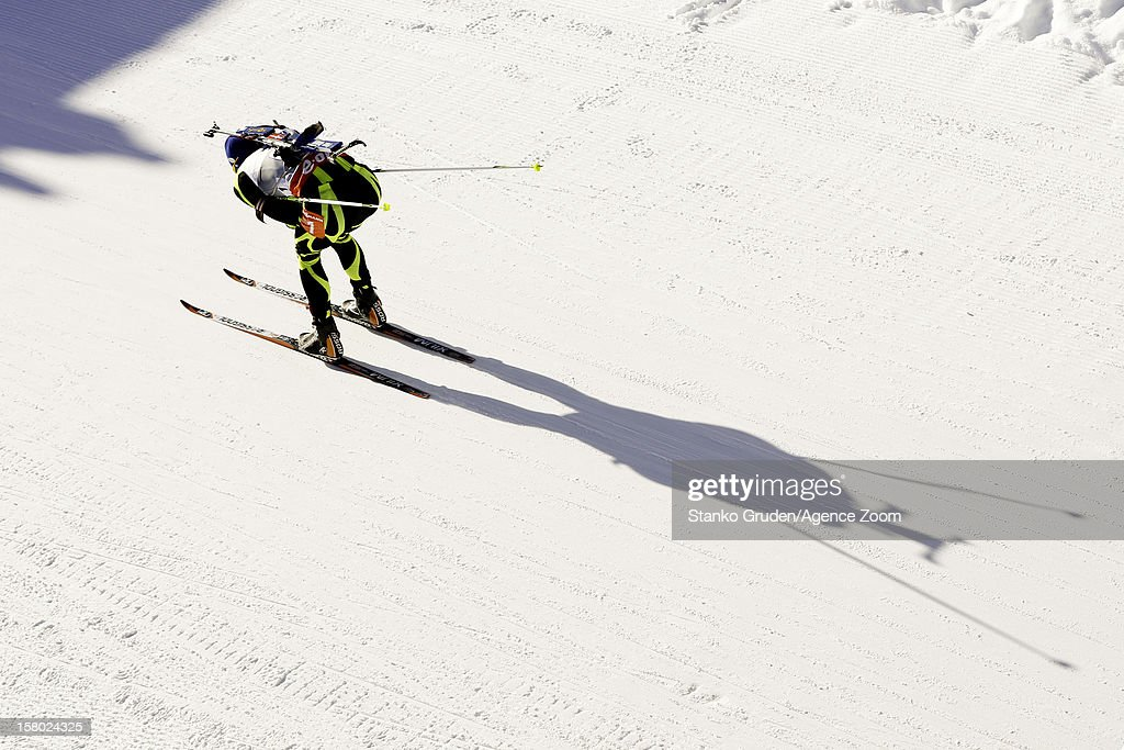 Martin Fourcade of France takes 2nd place during the IBU Biathlon World Cup Men's Relay on December 9, 2012 in Hochfilzen, Austria.