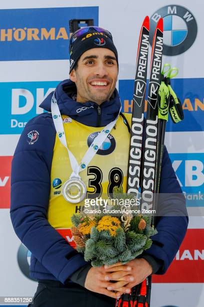 Martin Fourcade of France takes 2nd place during the IBU Biathlon World Cup Men's and Women's Sprint on December 8 2017 in Hochfilzen Austria
