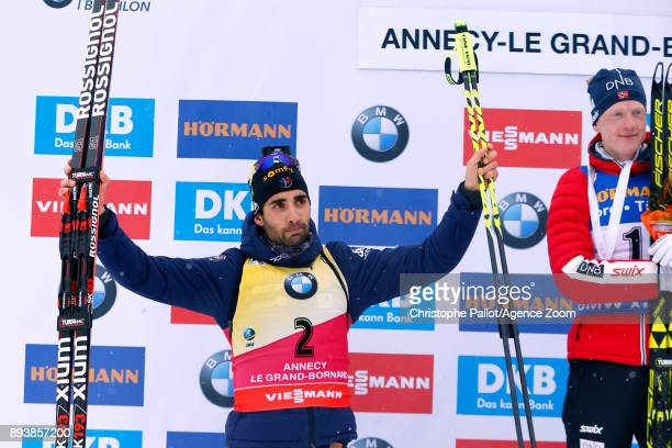 Martin Fourcade of France takes 2nd place during the IBU Biathlon World Cup Men's and Women's Pursuit on December 16 2017 in Le Grand Bornand France