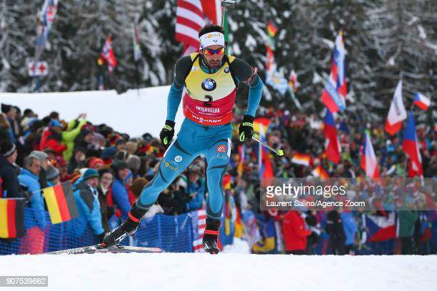 Martin Fourcade of France takes 2nd place during the IBU Biathlon World Cup Men's and Women's Pursuit on January 20 2018 in AntholzAnterselva Italy
