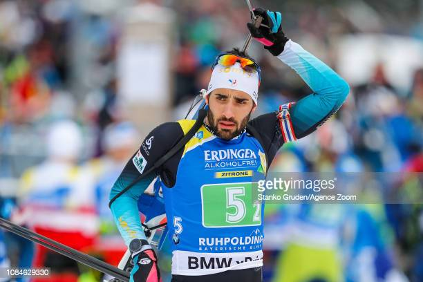 Martin Fourcade of France takes 3rd place during the IBU Biathlon World Cup Men's Relay on January 18, 2019 in Ruhpolding, Germany.