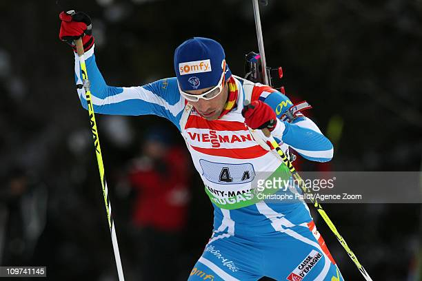Martin Fourcade of France takes 3rd place during the IBU Biathlon World Championships Mixed Relay on March 3 2011 in KhantyMansiysk Russia