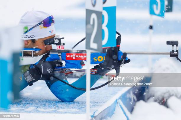 Martin Fourcade of France takes 3rd place during the IBU Biathlon World Cup Men's and Women's Pursuit on December 9 2017 in Hochfilzen Austria