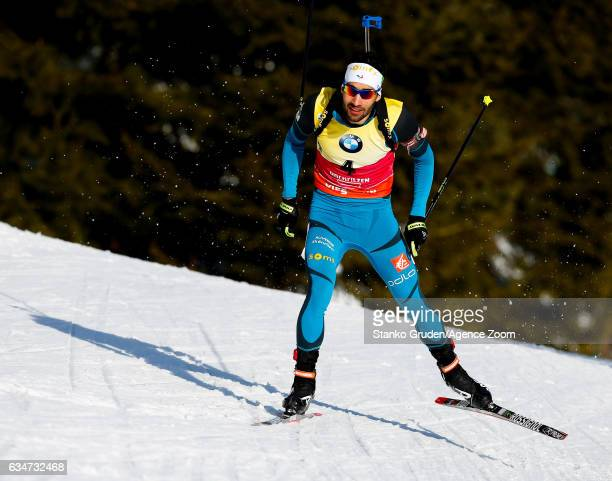 Martin Fourcade of France wins the bronze medal during the IBU Biathlon World Championships Men's Sprint on February 11 2017 in Hochfilzen Austria