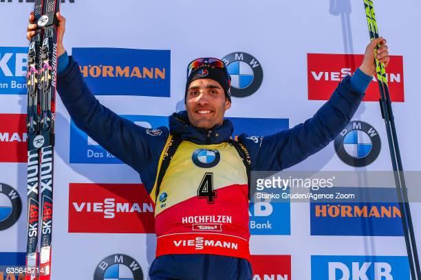 Martin Fourcade of France wins the bronze medal during the IBU Biathlon World Championships Men's Individual on February 16 2017 in Hochfilzen Austria