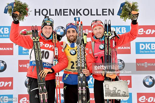 Martin Fourcade of France wins the gold medal Dominik Landertinger of Austria wins the silver medal Simon Eder of Austria wins the bronze medal...