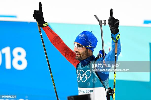 Martin Fourcade of France wins the gold medal during the Biathlon Men's 15km Mass Start at Alpensia Biathlon Centre on February 18 2018 in...