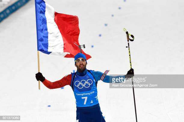 Martin Fourcade of France wins the gold medal during the Biathlon Mixed Relay at Alpensia Biathlon Centre on February 20 2018 in Pyeongchanggun South...