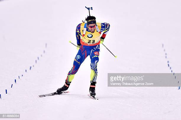 Martin Fourcade of France wins the gold medal during the IBU Biathlon World Championships Men's 20km Individual on March 10 2016 in Oslo Norway
