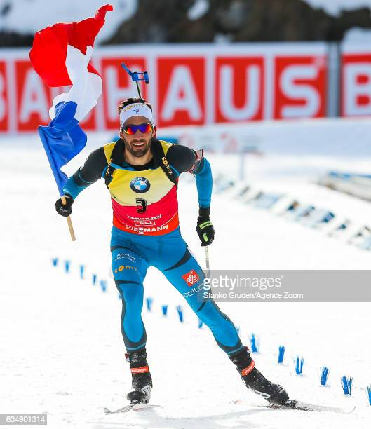 Martin Fourcade of France wins the gold medal during the IBU Biathlon World Championships Men's and Women's Pursuit on February 12 2017 in Hochfilzen...