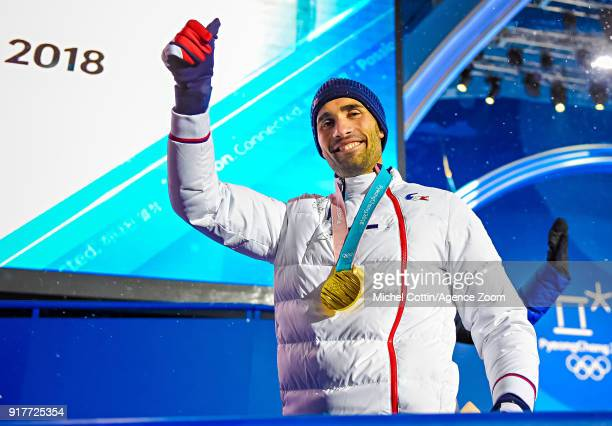 Martin Fourcade of France wins the gold medal during the Medal Ceremony at Medal Plaza on February 13 2018 in Pyeongchanggun South Korea