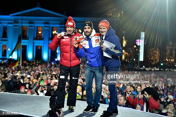 Martin Fourcade of France wins the gold medal Ole Einar Bjoerndalen of Norway wins the silver medal Sergey Semenov of Ukraine wins the bronze medal...