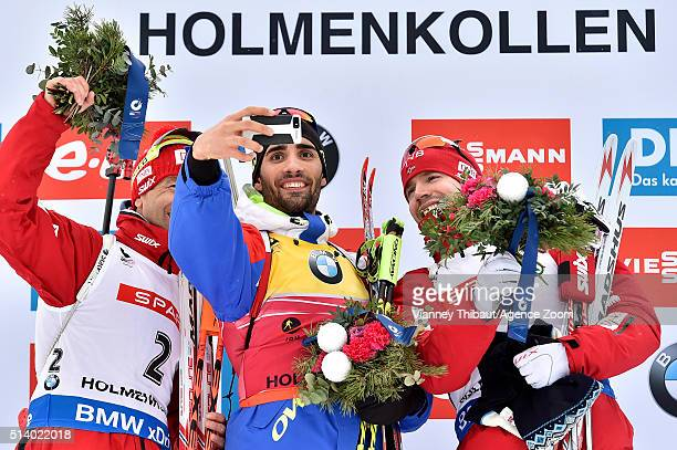 Martin Fourcade of france wins the gold medal Ole Einar Bjoerndalen of Norway wins the silver medal Emil Hegle Svendsen of Norway wins the bronze...