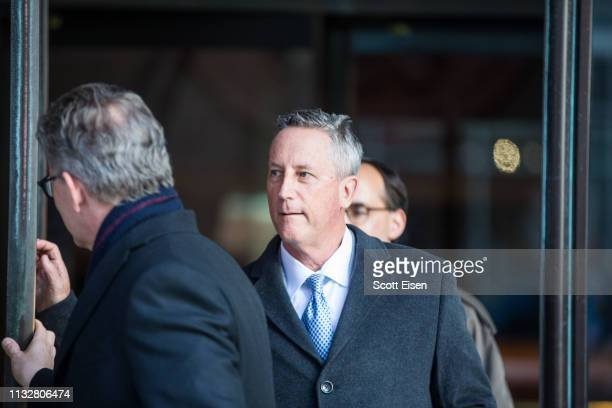 Martin Fox president of a private tennis academy in Houston leaves following his arraignment at Boston Federal Court on March 25 2019 in Boston...