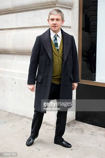 Martin Freeman actor wearing a Paul Smith jacket on day 2 of London Mens Fashion Week Autumn/Winter 2013, on January 08, 2013 in London, England.