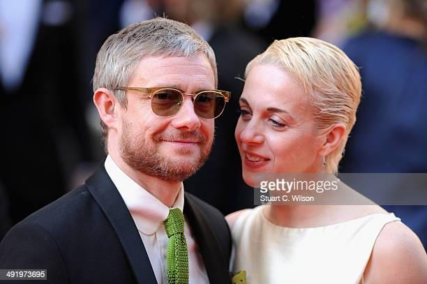 Martin Freeman and Amanda Abbington attend the Arqiva British Academy Television Awards at Theatre Royal on May 18 2014 in London England