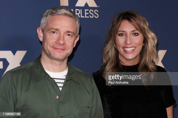 Martin Freeman and Daisy Haggard attend FX Networks' Star Walk Winter Press Tour 2020 at The Langham Huntington, Pasadena on January 09, 2020 in...