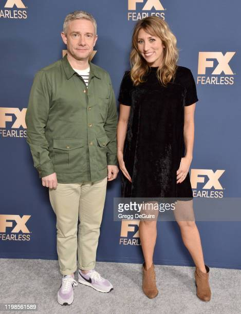 Martin Freeman and Daisy Haggard attend the FX Networks' Star Walk Winter Press Tour 2020 at The Langham Huntington, Pasadena on January 09, 2020 in...