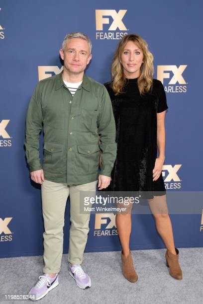 Martin Freeman and Daisy Haggard of 'Breeders' attend the FX Networks' Star Walk Winter Press Tour 2020 at The Langham Huntington, Pasadena on...
