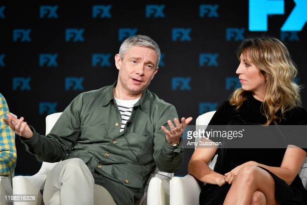 Martin Freeman and Daisy Haggard of 'Breeders' speak during the FX segment of the 2020 Winter TCA Tour at The Langham Huntington, Pasadena on January...