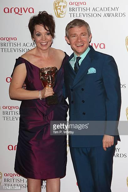 Martin Freeman and Olivia Colman pose in the press room at the Arqiva British Academy Television Awards 2013 at the Royal Festival Hall on May 12...