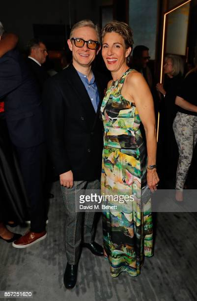 Martin Freeman and Tamsin Greig attend the press night after party for Labour Of Love at The National Cafe on October 3 2017 in London England