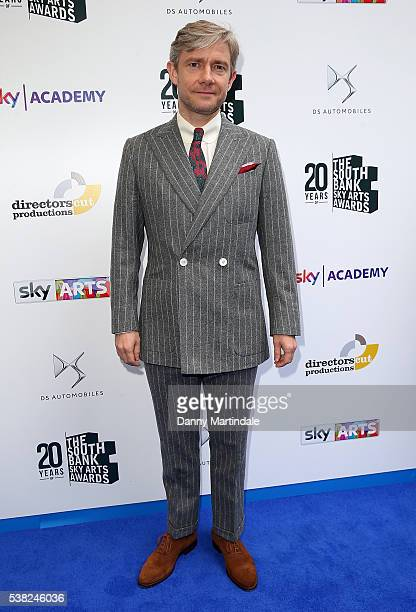 Martin Freeman arrives for the The South Bank Awards at The Savoy Hotel on June 5 2016 in London England