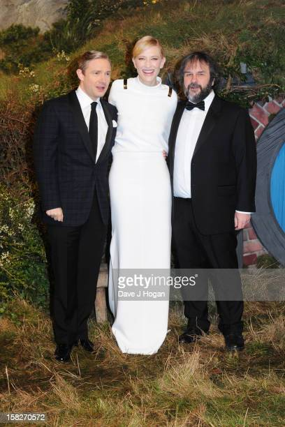 """Martin Freeman, Cate Blanchett and Peter Jackson attend a royal film performance of """"The Hobbit: An Unexpected Journey"""" at The Empire Leicester..."""