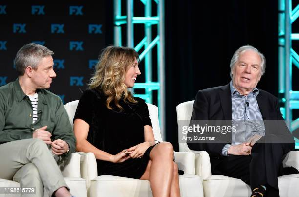 Martin Freeman, Daisy Haggard, and Michael McKean of 'Breeders' speak during the FX segment of the 2020 Winter TCA Tour at The Langham Huntington,...