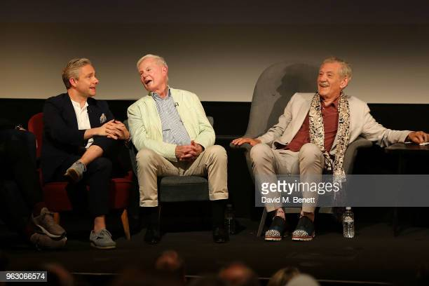 Martin Freeman Derek Jacobi and Sir Ian McKellen attend a special screening of 'McKellen Playing the Part' at the BFI Southbank on May 27 2018 in...