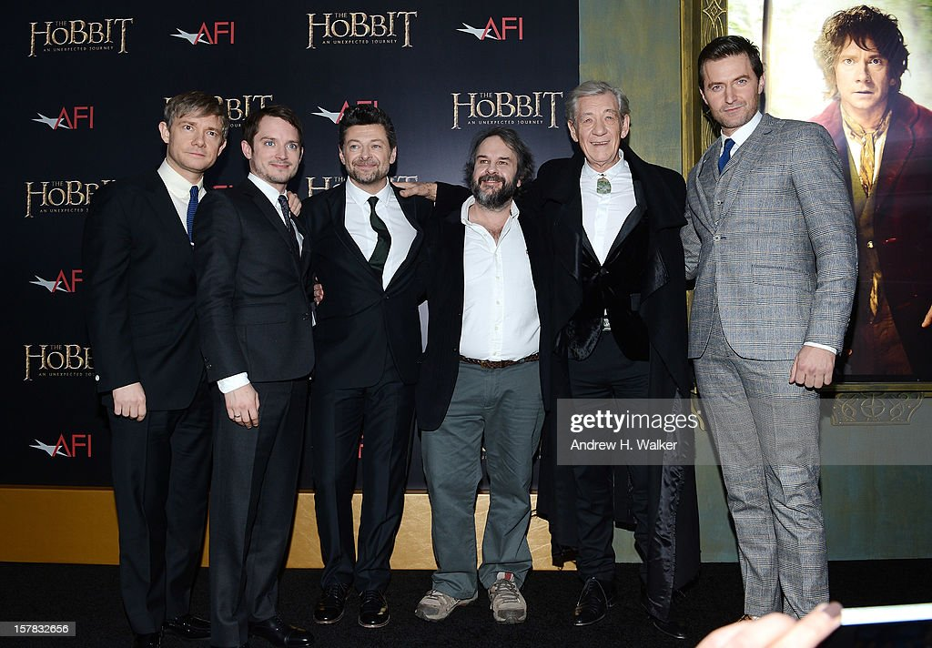 Martin Freeman, Elijah Wood, Andy Serkis, Sir Peter Jackson, Sir Ian McKellen, and Richard Armitage attend 'The Hobbit: An Unexpected Journey' New York premiere benefiting AFI at Ziegfeld Theater on December 6, 2012 in New York City.