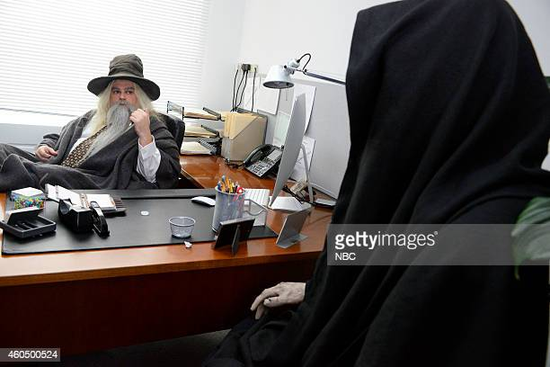 "Martin Freeman"" Episode 1671 -- Pictured: Bobby Moynihan as Gandalf during the ""Hobbit Office"" skit on December 13, 2014 --"