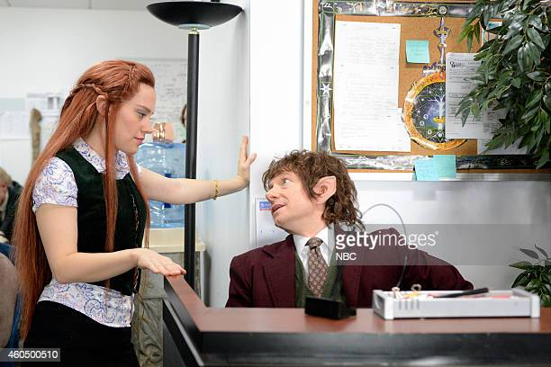 "Martin Freeman"" Episode 1671 -- Pictured: Kate McKinnon as Tauriel and Martin Freeman as Bilbo during the ""Hobbit Office"" skit on December 13, 2014 --"