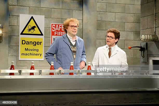 LIVE 'Martin Freeman' Episode 1671 Pictured Taran Killam as Gordon and Martin Freeman as Mr Ruderman during the 'Assembly Line' skit on December 13...