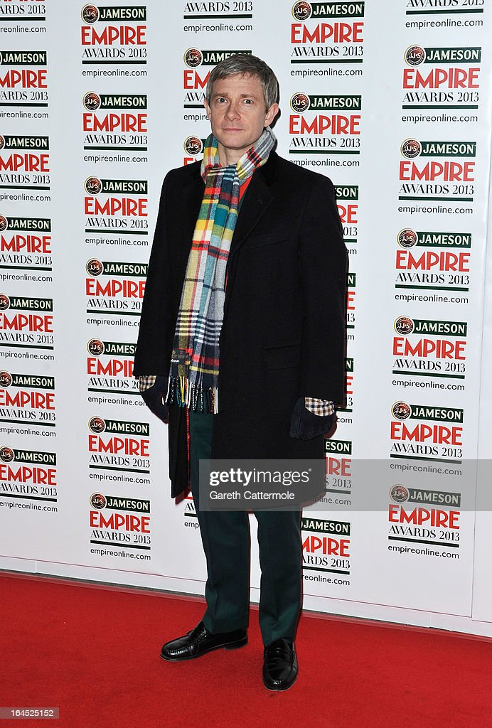 Martin Freeman is pictured arriving at the Jameson Empire Awards at Grosvenor House on March 24, 2013 in London, England.