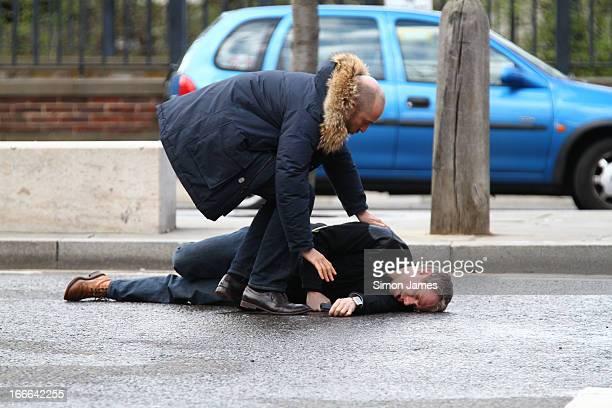 Martin Freeman sighting on set of Sherlock on April 14 2013 in London England