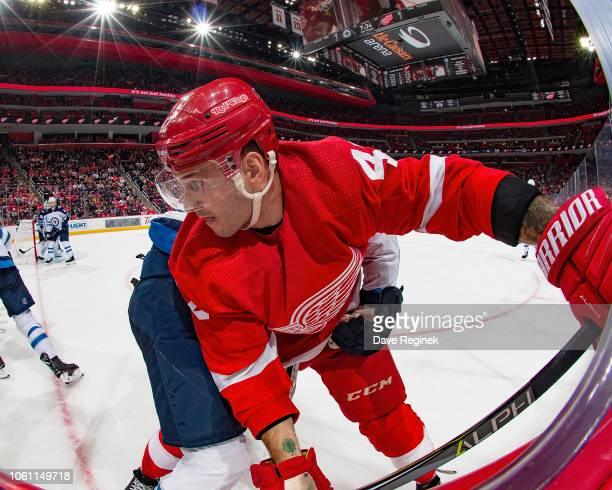 Martin Frk of the Detroit Red Wings battles in the corner against the Winnipeg Jets during an NHL game at Little Caesars Arena on October 26 2018 in...