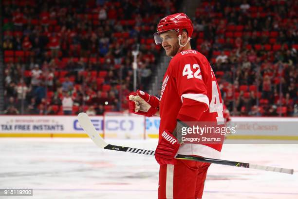 Martin Frk of the Detroit Red Wings celebrates a second period goal while playing the Boston Bruins at Little Caesars Arena on February 6 2018 in...