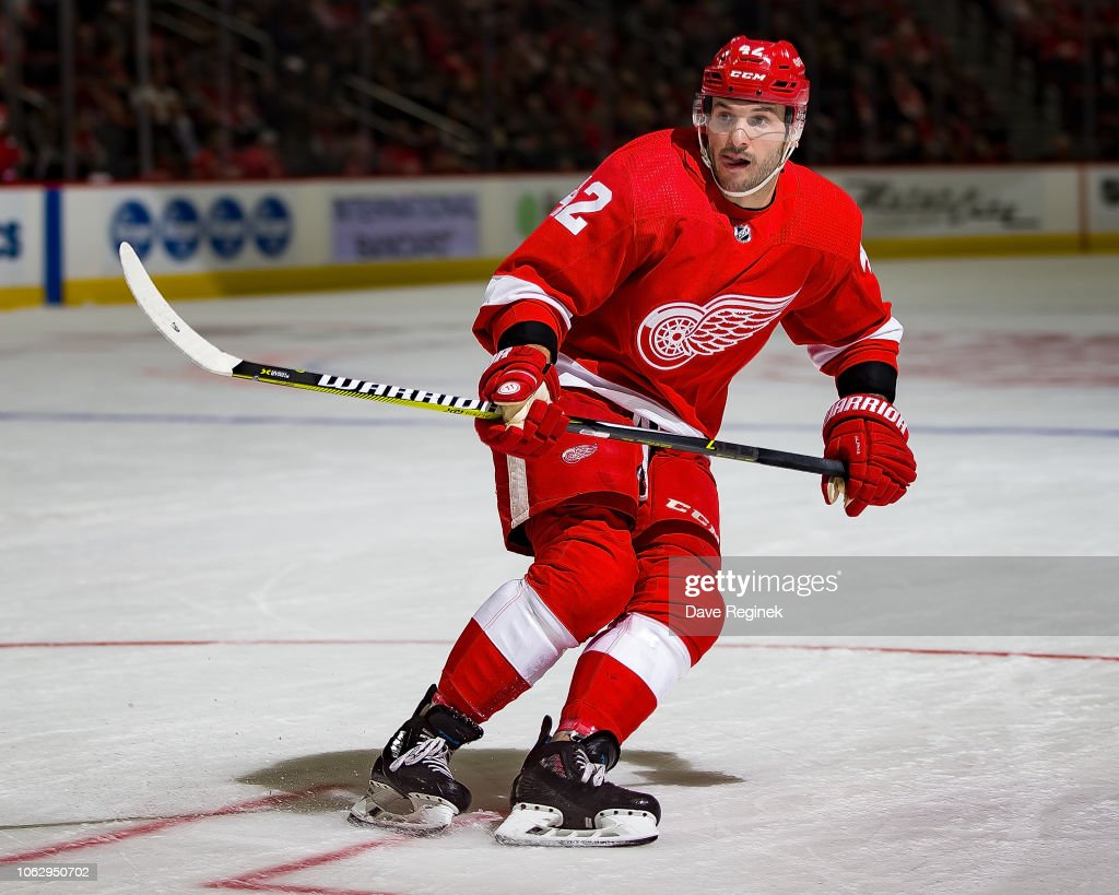 Martin Frk of the Detroit Red Wings follows the play against the New ... 18b084375