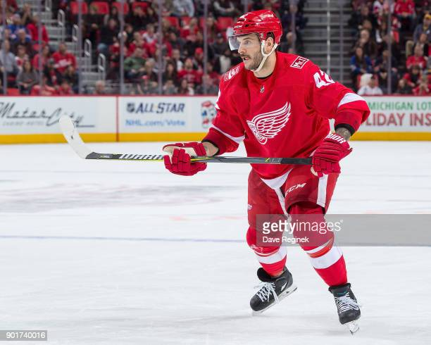 Martin Frk of the Detroit Red Wings follows the play against the New York Rangers during an NHL game at Little Caesars Arena on December 29 2017 in...