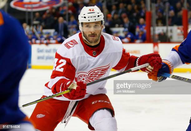 Martin Frk of the Detroit Red Wings in action against the New York Islanders at Barclays Center on February 9 2018 in New York City The Islanders...