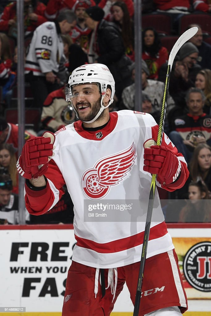 Martin Frk #42 of the Detroit Red Wings reacts after the Red Wings defeat the Chicago Blackhawks 4-0 at the United Center on January 14, 2018 in Chicago, Illinois.