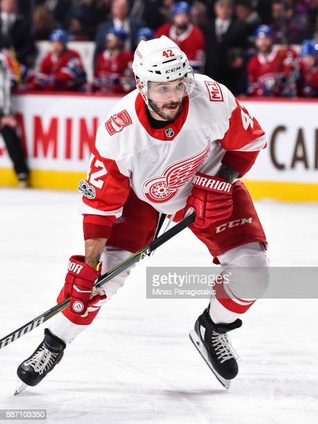 Martin Frk of the Detroit Red Wings skates against the Montreal Canadiens during the NHL game at the Bell Centre on December 2 2017 in Montreal...