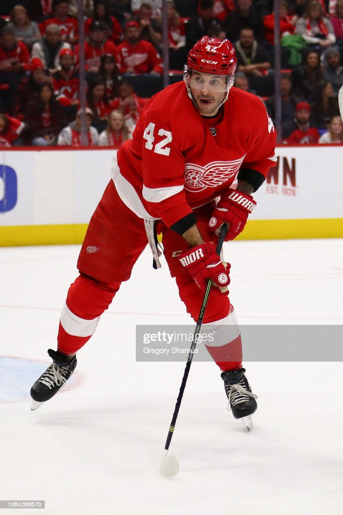 Martin Frk of the Detroit Red Wings skates against the New Jersey ... b6ed01d30