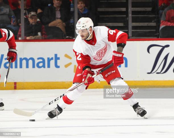 Martin Frk of the Detroit Red Wings skates against the New Jersey Devils at Prudential Center on November 17 2018 in Newark New Jersey The Red Wings...