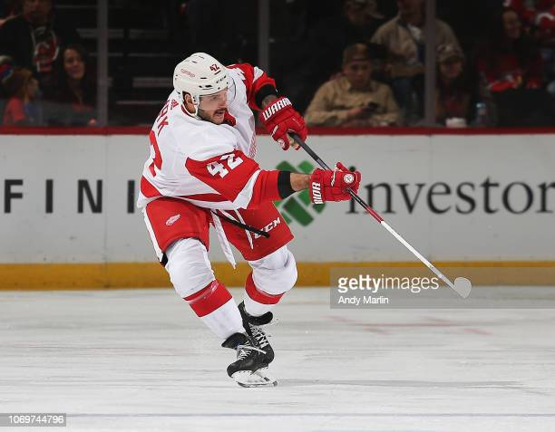 Martin Frk of the Detroit Red Wings skates against the New Jersey Devils  during the game f9cb23bbd